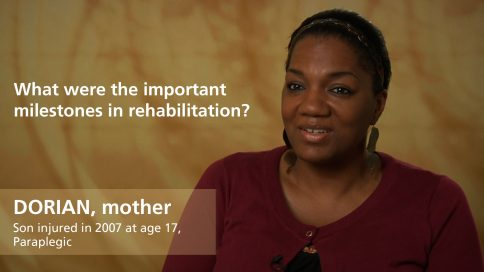 Dorian - mother of paraplegic son - milestones in rehabilitation