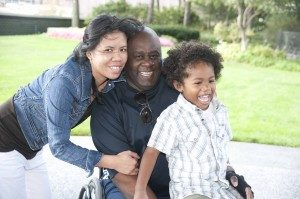 Mother, father and son spinal cord injury