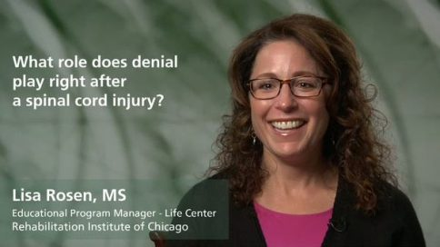 What role does denial play right after a spinal cord injury?